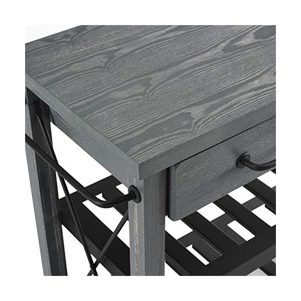 Crosley Furniture Roots Rack Industrial Rolling Kitchen Cart, Grey
