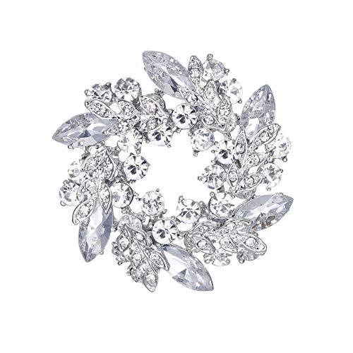 (EVER FAITH Austrian Crystal Wedding Flower Wreath Bridal Brooch Pin Clear)