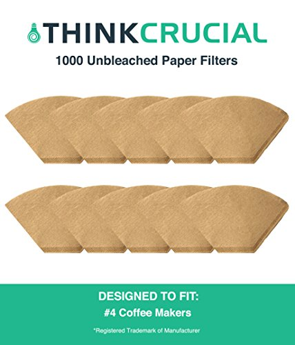 1000 Replacements for Unbleached Natural Brown Paper #4 Coffee Disposable Cone Filters, Fits All Coffee Makers With #4 Filters including Melitta, Great for Homemade Coffee, by Think Crucial by Think Crucial