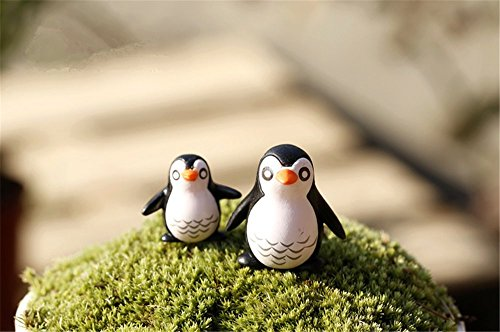 Danmu 2 Pairs of Mini PVC Penguins Miniature Plant Pots Bonsai Craft Micro Landscape DIY Decor (Plant Penguins)