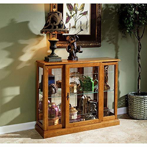 Sofaweb.com Golden Oak Console Front Door Entry Curio Cabinet