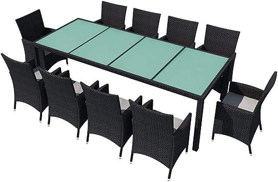 Xinglieu Kit Table Chaises de Jardin 21 pièces en polyrotin ...