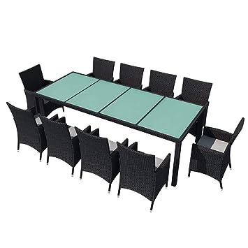 Xinglieu Juego de Mesa sillas de jardín de 21 Piezas en polirratán ...