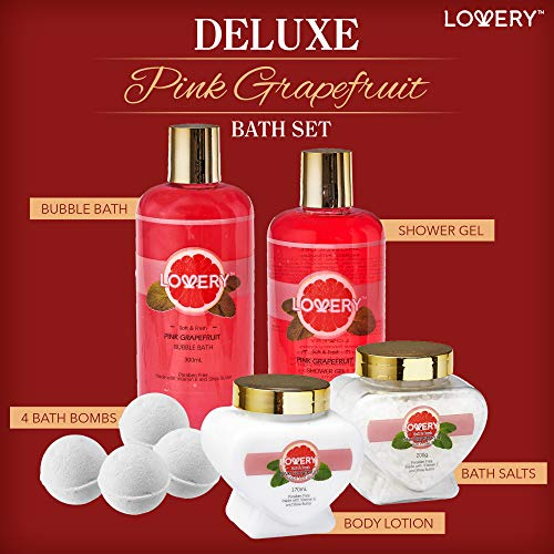Premium Bath and Body Gift Basket For Women – 30 Piece Set, Pink Grapefruit Home Spa and Makeup Set, With Cosmetic… 3