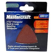 "Mastercraft-15-PACK- Aluminum Oxide-3 5/8"" Triangle Hook and Loop Detailing Sandpaper, 100 Grit Medium"
