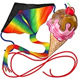aGreatLife Large Kites Bundle - Rainbow and Ice Cream in Cone Includes Ebooks for How to Assemble and Fly a Kite, Pools and Strings - Double The Fun Trick and Adventure in Two of The Easy Flyer Kites