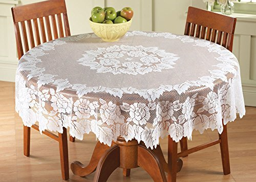 Collections Etc Classic Elegant White Floral Lace Tablecloth - Stand Alone or Layered Over Solid Color for Beautiful Accent, White, 60In (Over Collection Lace)