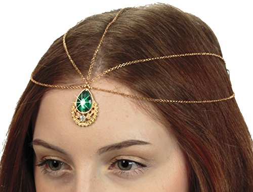 Hair Jewelry, Teardrop Forehead Pendant Headpiece with Faux Emerald
