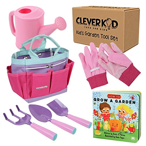 Kids Gardening Tools - Includes Sturdy Tote Bag, Watering Can, Gloves, Shovels, Rake, and a Delightful Children's Book How to Garden Tale - Kids Garden Tool Set for Toddler Age on up. from Clever Kid Toys