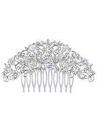 Ever Faith Silver-Tone Crystal Cubic Zirconia Wedding Floral Leaf Tear Drop Hair Comb Clear N07352-1