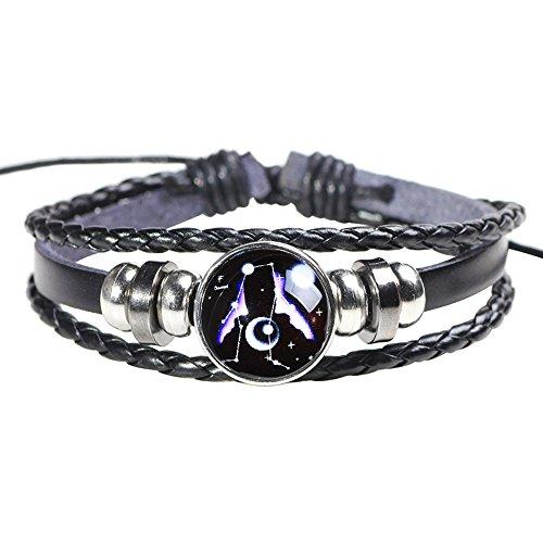 H.ZBRUJ Adjustable Leather Bracelet Constellation Cuff Bracelet Beaded Bracelet Punk Bracelet Multilayer Braided Rope Bracelet Star Bracelet 8-11 Inch for Men Women