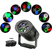 MINO ANT Rotating RGBW Projection LED Light, 7PCS Switchable Lens Stage Lighting Lamp Landscape Projector for Christmas,Halloween,Valentine's Day, Holiday,Birthday, Wedding, Party, Kids Room