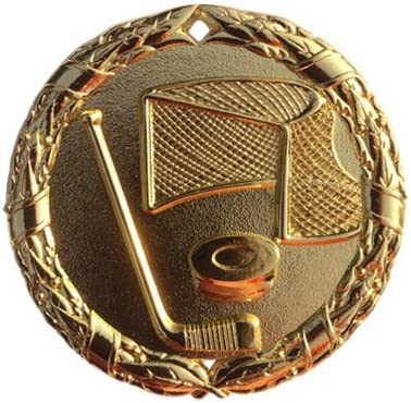 Gold Ice Hockey Medals Trophy Champion Participant Award Prize with Neck Ribbons Pack of 10
