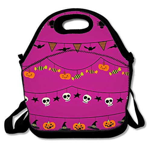 Halloween Bats Background Lunch Tote, Insulated Thermal Lunch Bag Waterproof Lunch -