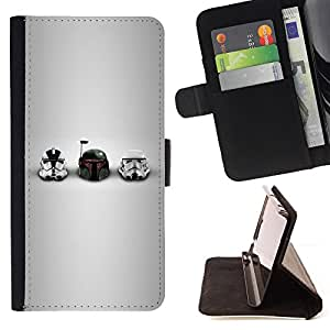 For Samsung Galaxy A3 Star Wars Helmets Leather Foilo Wallet Cover Case with Magnetic Closure