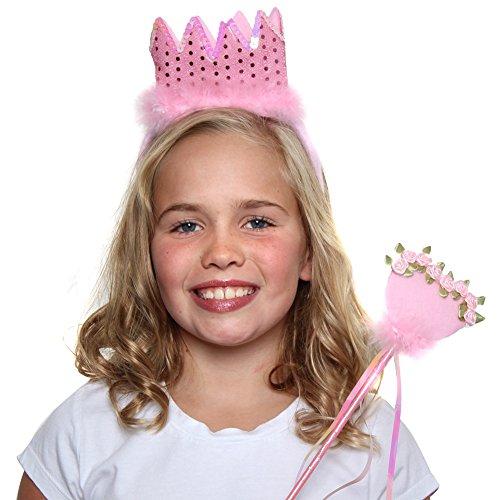 (Pink Sequin Princess Crown & Wand Set)