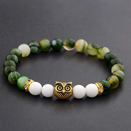 Werrox Fashion Mens Women s Natural Lava Stone Owl 8MM Beads Charm Bracelets Jewelry | Model BRCLT - 3091 |