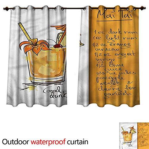 (cobeDecor Tiki Bar Outdoor Curtain for Patio Mai Tai Cocktail Recipe W63 x L72(160cm x 183cm))