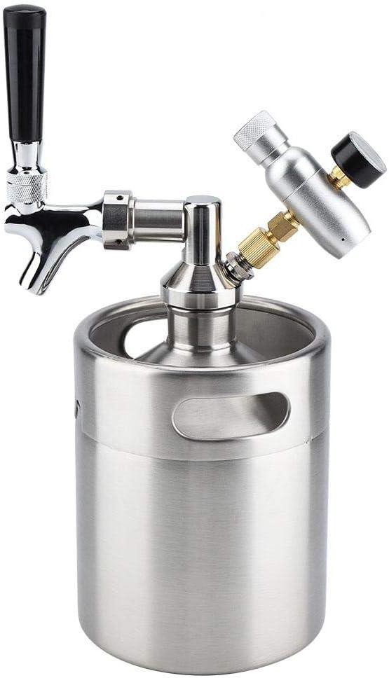 2L Barril de Cerveza de Acero Inoxidable Dispensador de Cerveza de Barril con Grifo Presurizado