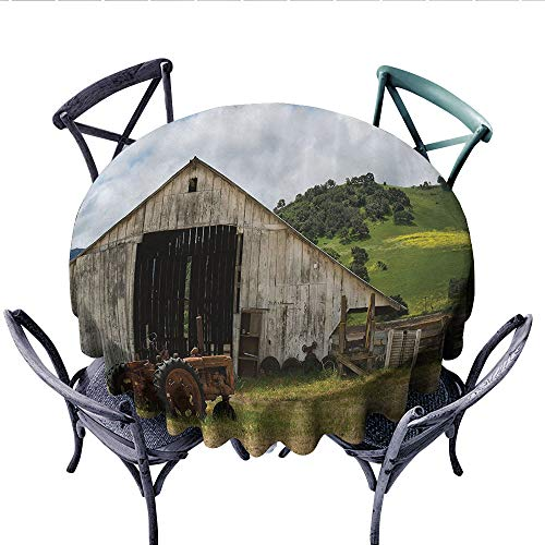 (Farm House Decor Collection Printed Circle Tablecloth Old Wooden Barn with Rusted Tractor on Hillside Enclosed with Wooden Fence and Trees Stain Resistant Wrinkle Tablecloth (Round, 36 Inch, Green Whi)