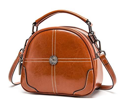 BISON DENIM Small Crossbody Bags Genuine Leather Shoulder Bag for Women Ladies Top Handle Handbag Purse Floral - Top Bison