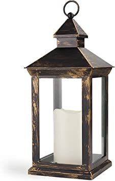 Bright Zeal 14 Inch Outdoor Lanterns With Led Candles And Timer Ip44 Waterproof Distressed Bronze Decorative Outdoor Lanterns Battery Powered Indoor Led Lanterns Battery Operated For Wedding Table Amazon Co Uk Kitchen