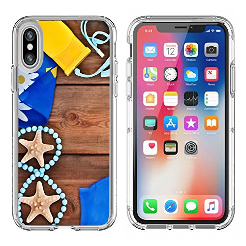 Liili Apple iPhone X Clear case Soft TPU Rubber Silicone Bumper Snap Cases iPhoneX goggles shells swimsuit on a wooden background set for the beach - Goggles Wooden