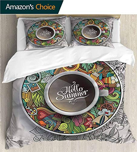 (VROSELV-HOME 3 Pcs King Size Comforter Set,Box Stitched,Soft,Breathable,Hypoallergenic,Fade Resistant Cool 3D Outer Space Bedding Digital Print-Coffee Summer Doodles Saucer Artsy (104