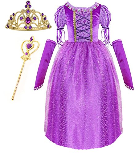 Princess Rapunzel Purple Princess Party Costume Dress with Accessories (6-7) (Tangled Rapunzel Dress)