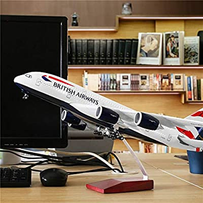 """24-Hours 18"""" 1:160 Scale Diecast Plane Model Airplane Collection with LED Light(Touch or Sound Control) for Decoration or Gift"""