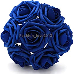 50 pcs Artificial Flowers Foam Roses Various Colors For Bridal Bouquet Bouquets Wedding Centerpieces Kissing Balls (Royal Blue)