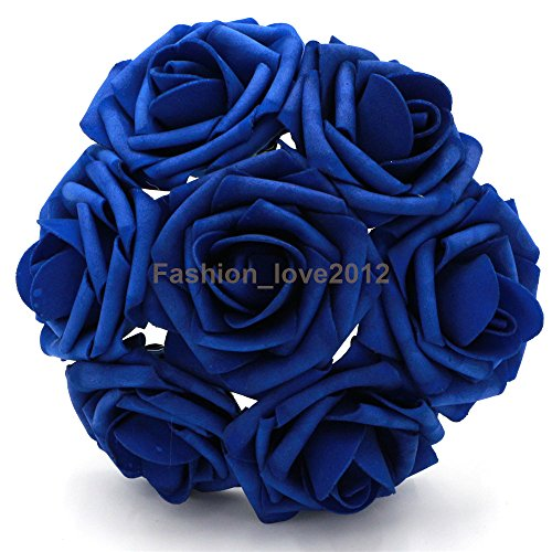 50 pcs Artificial Flowers Foam Roses Various Colors For Bridal Bouquet Bouquets Wedding Centerpieces Kissing Balls (Royal (Royal Centerpieces)