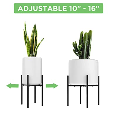Adjustable Metal Plant Stand (10 to 16 inches), Mid Century Modern Plant Stand (16 inches in Height), Indoor & Outdoor Plant Stand, Fit 10 11 12 13 14 15 16 inch Pots (Pot & Plant Not Included), Black : Garden & Outdoor
