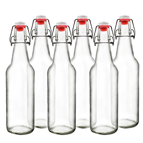 YEBODA Clear Glass Beer Bottles for Home Brewing with Easy Wire Swing Cap & Airtight Silicone Seal 16 oz- Case of 6 ()