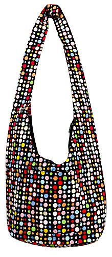 Avarada Hippie Hobo Cotton Crossbody Shoulder Bohemian Bag Medium Size Colorful Polka Dot Pattren Black