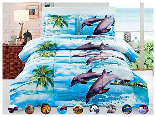 HUAJIE 3 Piece Set Soft 3D Print Animals Pattern Comforter Set,Dancing Dolphin in The Blue Ocean Bay and Palm Tree Island (Queen, Coconut Tree Dolphin)