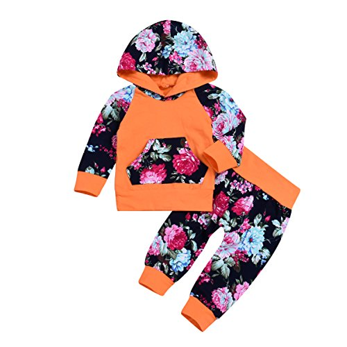 XiaoReddou Baby Girls Long Sleeve Flowers Hoodie Top and Pants Outfit with Kangaroo Pocket (Orange, 0-6 Months)