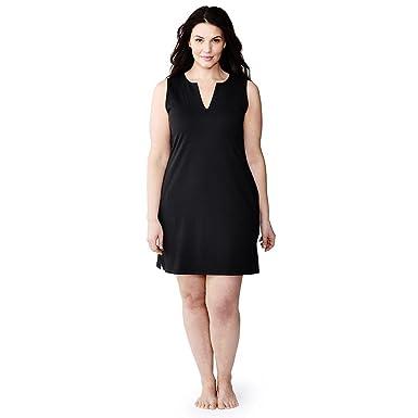 fdba2e624b Lands  End Women s Plus Size Cotton Jersey Sleeveless Tunic Dress Swim Cover -up