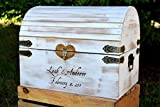 Lockable Card Chest with Card Slit – White Distressed Extra Large Rustic Wooden Card Box – Rustic Wedding Card Box – Shabby Chic Card Box For Sale