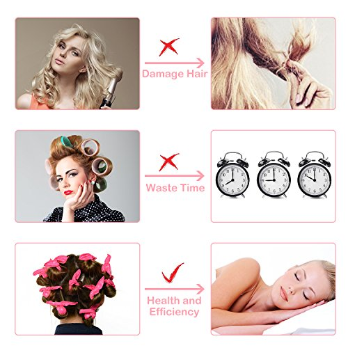 Ameauty Foam Hair Rollers for Long Medium Hair, No Heat, No Harm, Soft and Can be Used at Night for Save Time, Styling Tool For Women and Girl (30Pcs, Rose) by Ameauty (Image #1)