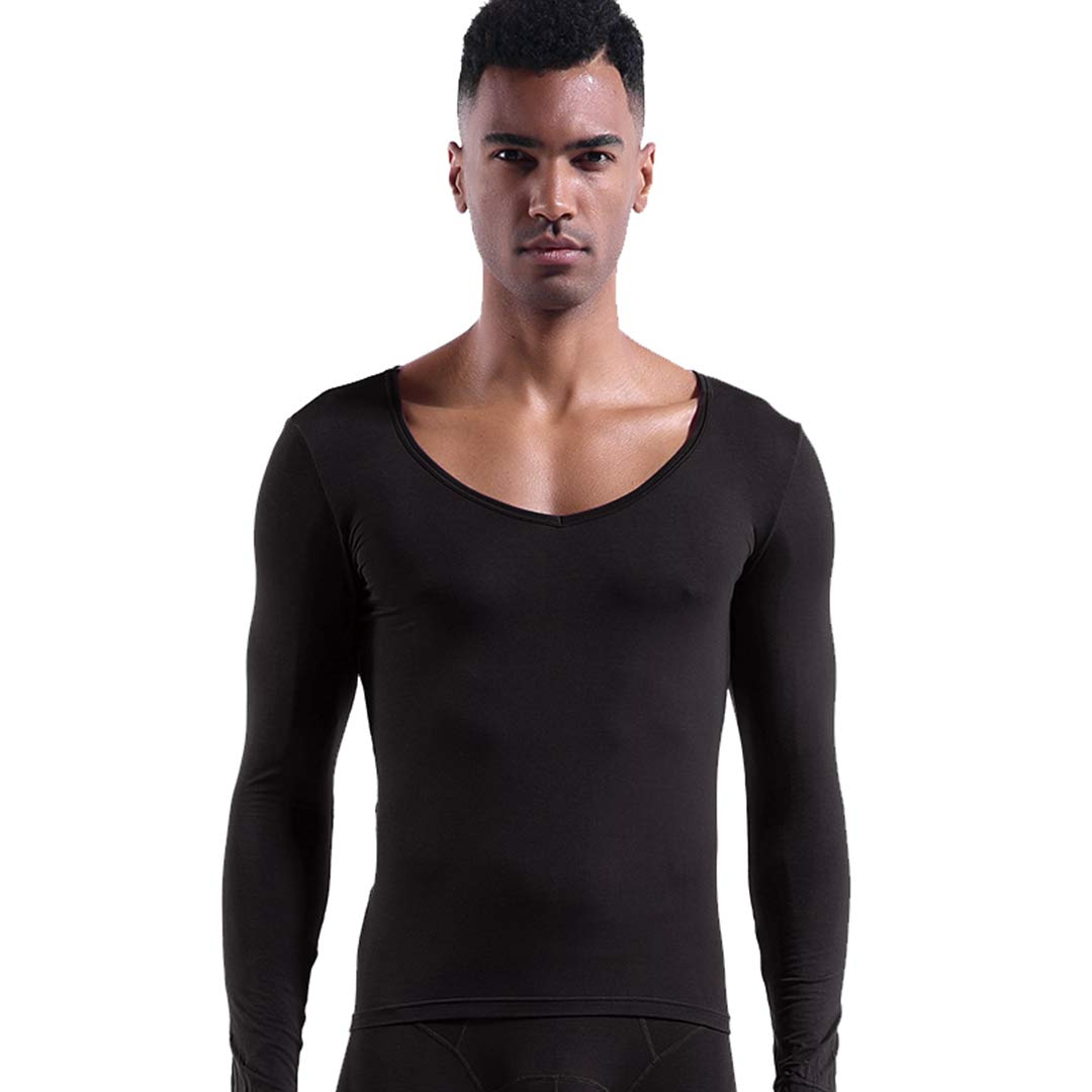 Ouruikia Mens Thermal Underwear Shirts Stretchy Modal Lightweight Thermal Tops Warm Tops for Winter