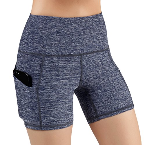 ODODOS High Waist Out Pocket Yoga Short Tummy Control Workout Running Athletic Non See-Through Yoga ()