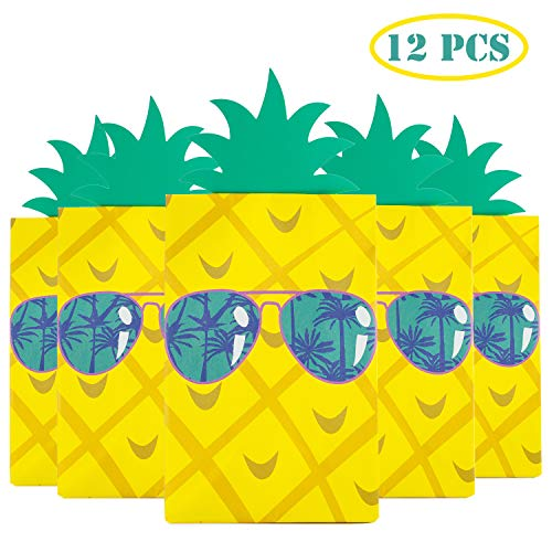 Happy Storm Pineapple Gift Bag Hawaiian Party Bags DIY Summer Luau Goodie Bags Fiesta Party Supplies Favors Candy Bag (12 pcs) with 24 pcs dot glue]()
