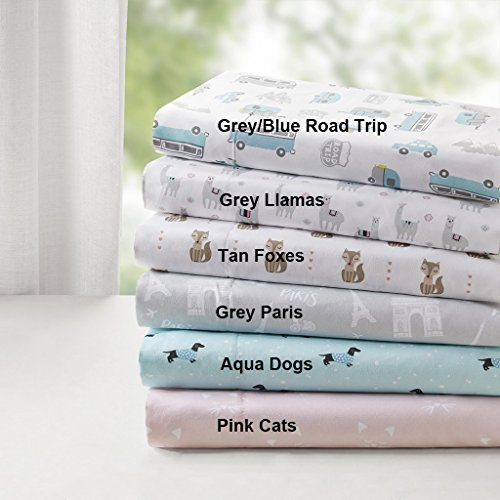 (Intelligent Design Novelty Print Ultra Soft Hypoallergenic Wrinkle Free Microfiber Animals Cute Chic Kids Teens Sheet Set Bedding, Queen Size, Aqua Dogs 4 Piece )