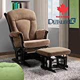 Dutailier, Ultramotion Jenny Taupe Multiposition Lock and Recline Glider and Ottoman Espresso Finish with Chenille Taupe Microfiber Fabric