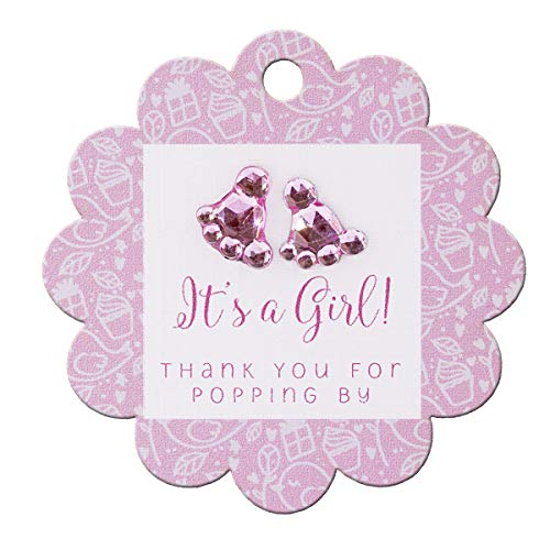 (Summer-Ray 50pcs Baby Shower Scallop Favor Gift Tags with Baby Feet Rhinestones (It's a Girl Pink))