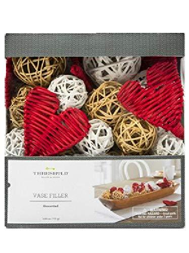 Threshold Vase Bowl Filler Red Hearts Vine Balls Natural and White (Target Bowl Fillers)
