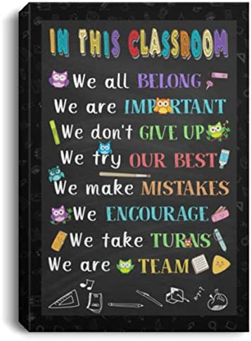 Canvas Meaningful Quote in This Classroom We All Belong We are Important We Don\u2019t Give Up Gift Family UniAwesome On Birthday Decor Home 16x24