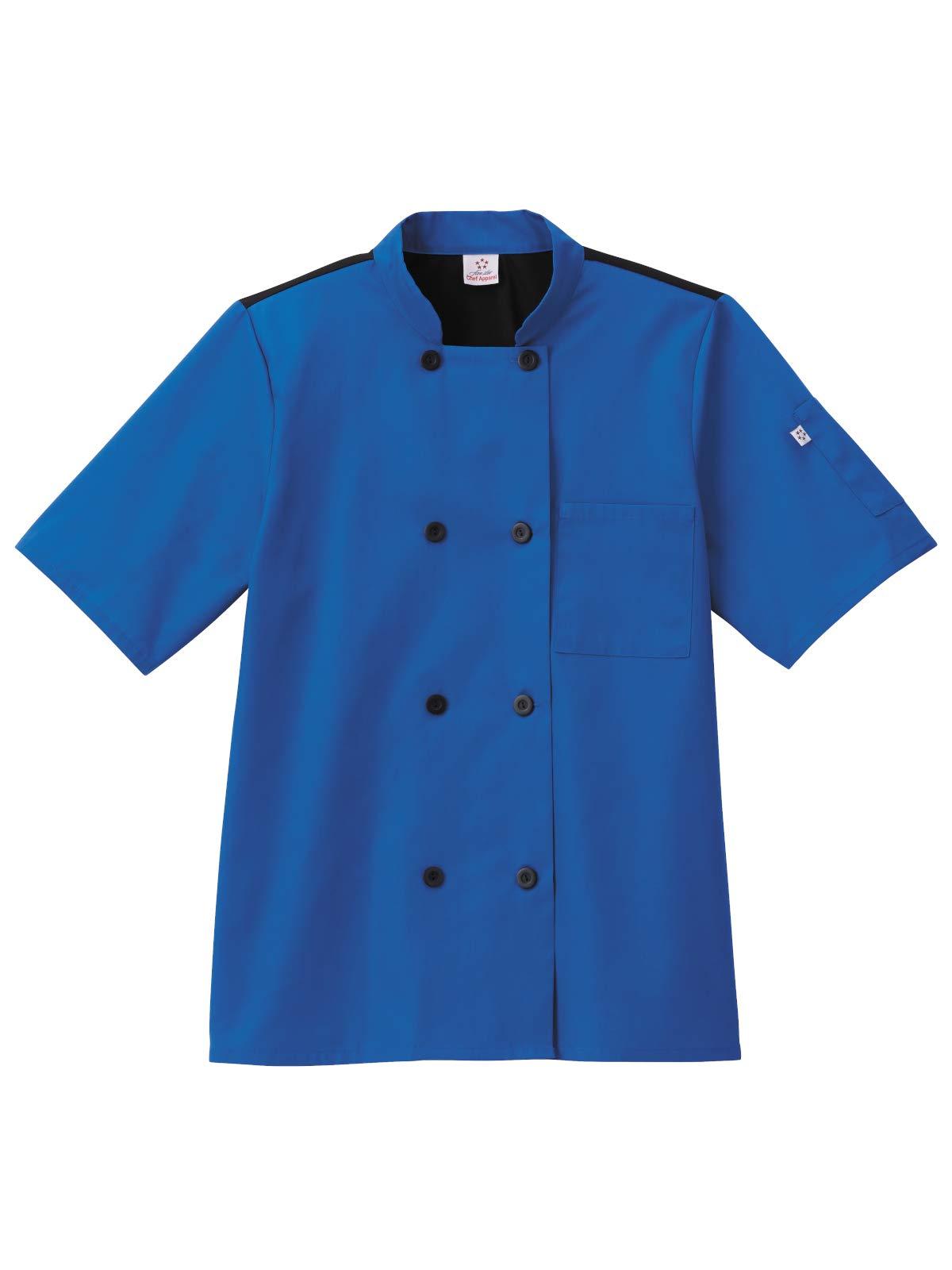 Five Star Chef Apparel Unisex Moisture Wicking Mesh Back Coat (Royal, Medium)