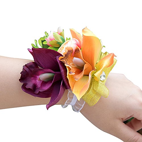 Abbie Home Wrist Corsage for Bridesmaid Champagne Peony Wristbands Hand Flower for Prom Wedding Party